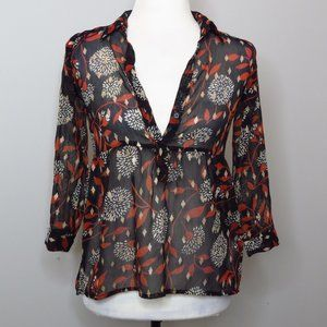 Sheer Black Patterned Tunic Top